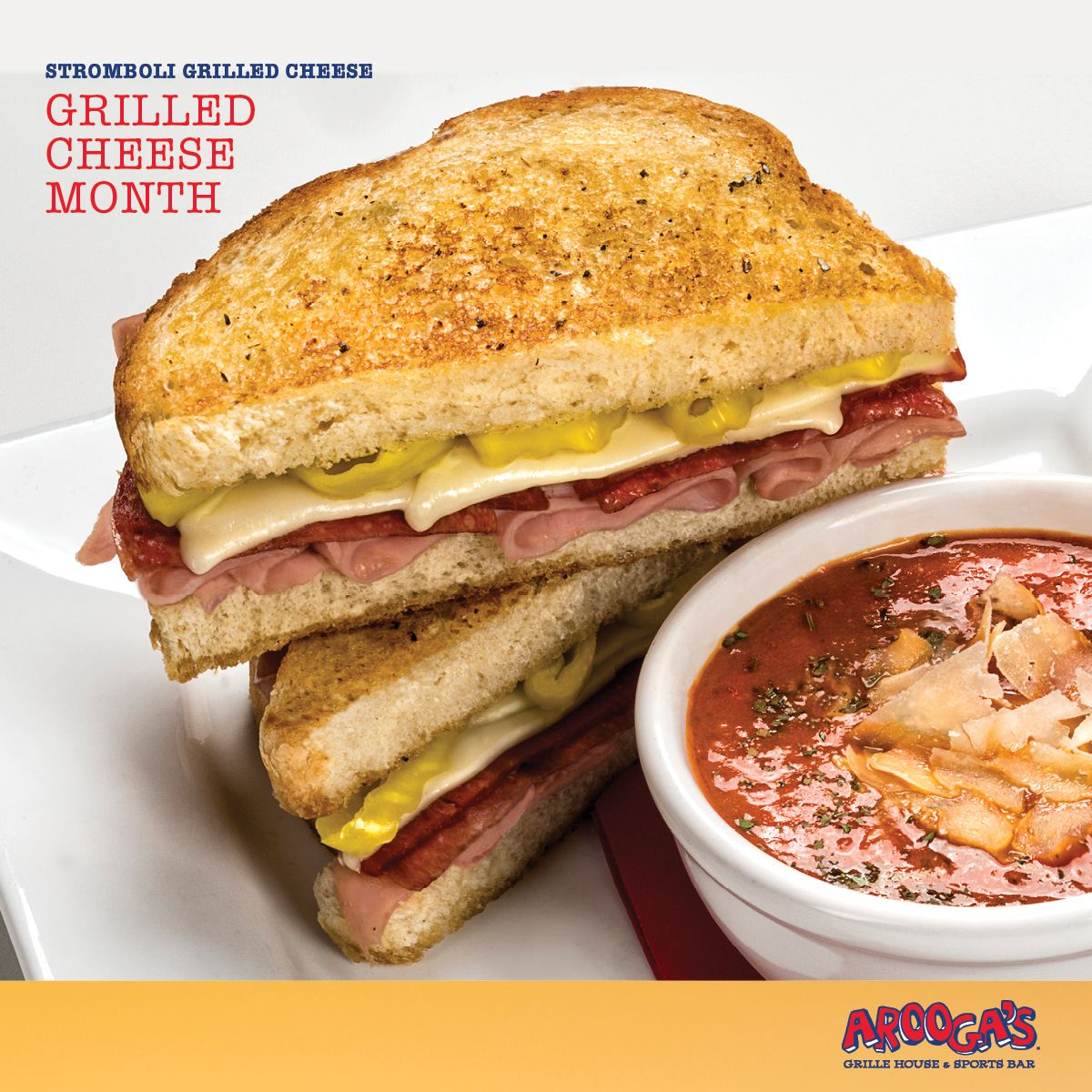 Half-Price Grilled Cheese Sandwiches at Arooga's April 12th For National Grilled Cheese Day