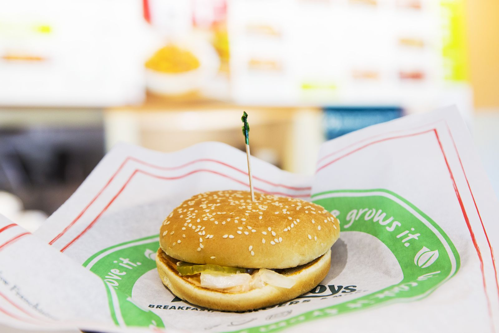 Farmer Boys, the farm fresh fast casual concept known for its award-winning burgers, has introduced a Burgerless Burger with simply pickles, onions, and Thousand Island dressing on a sesame seed bun.