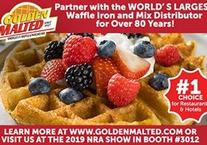 Golden Malted, the World's Largest Distributor of Waffle Mix and Irons since 1937, will be showcasing Fresh Baked Waffles & More in Booth #3012 at the 2019 NRA Show