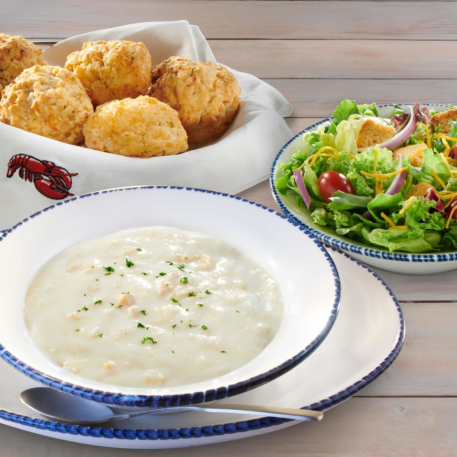 Guests can now enjoy NEW! Endless Soup, Salad, and Biscuits as part of Red Lobster's new Seafood Lover's Lunch menu.