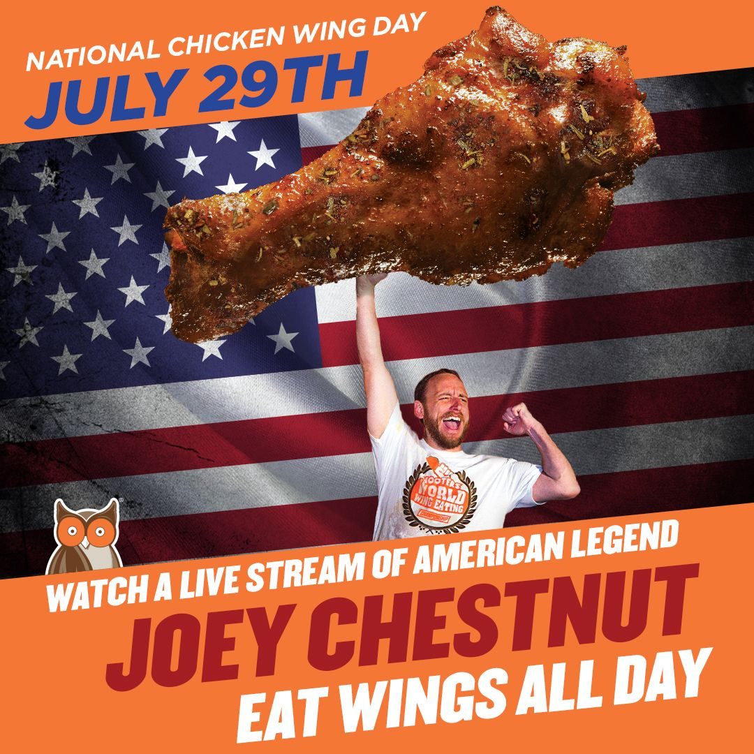 Guess How Many Hooters Wings Joey Chestnut Will Eat on National Chicken Wing Day, July 29, for a Chance to Win Free Wings for a Year