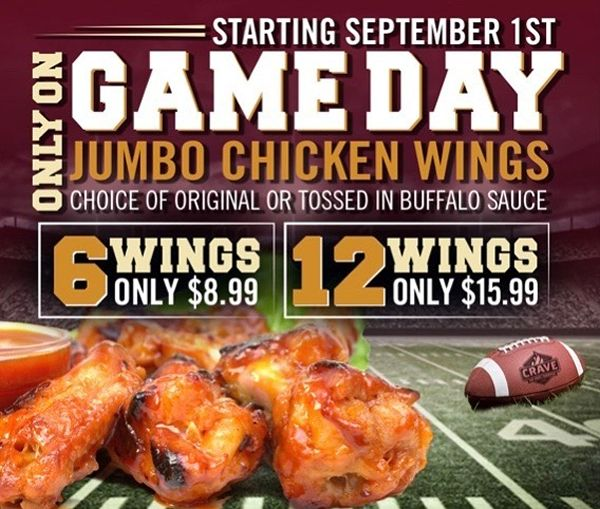 Crave Hot Dogs and BBQ to Debut Wings for Football Season