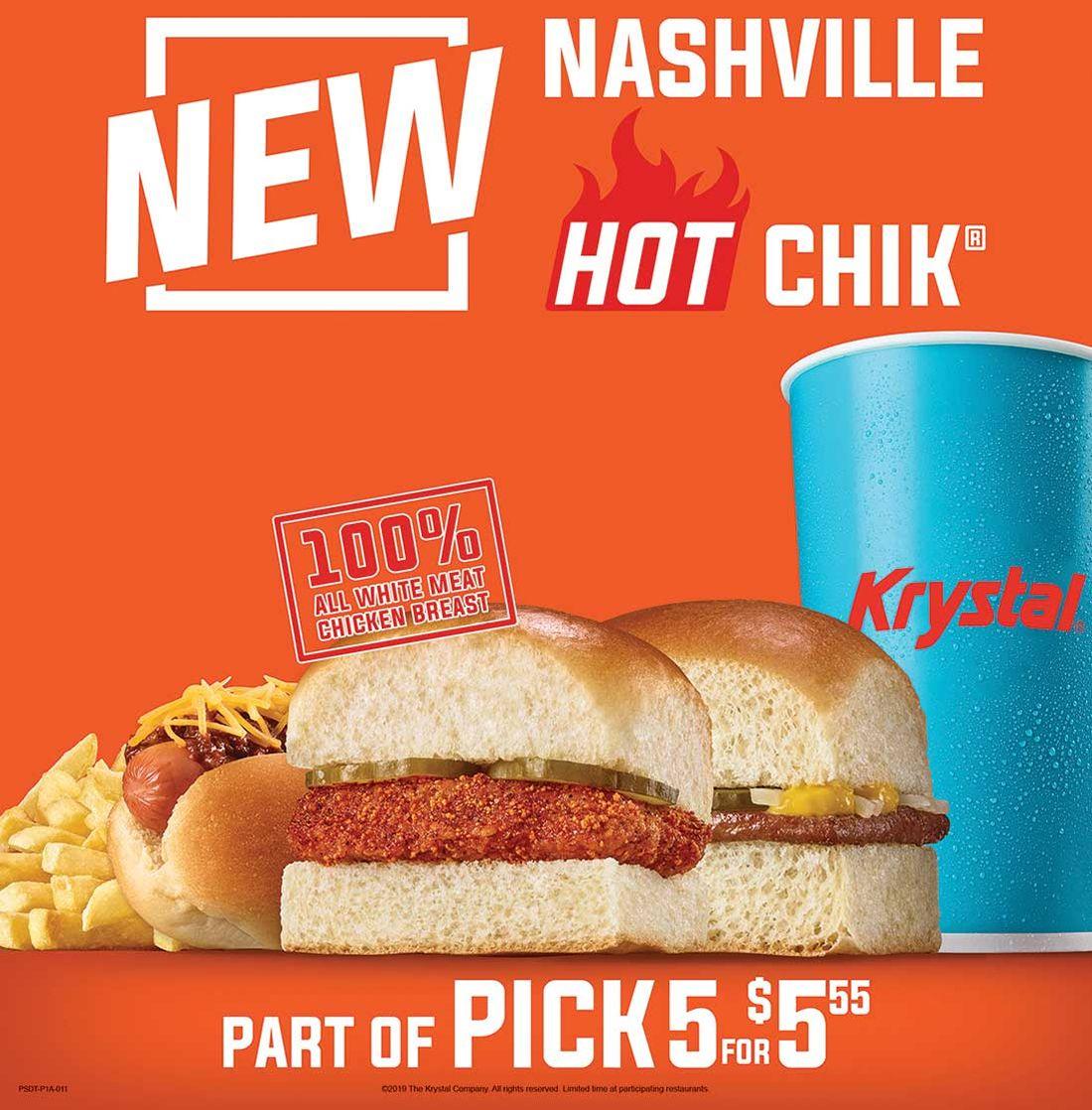 Krystal spices up menu with Nashville Hot Chik LTO