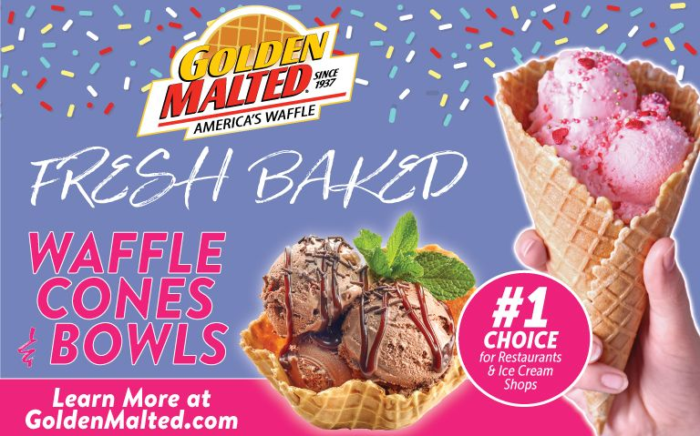 Serve Fresh Baked Waffle Cones & Bowls - Golden Malted Makes it Quick & Easy