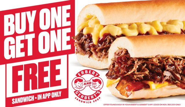 Get Two Sandwiches for the Price of One on November 3rd at Erbert & Gerbert's