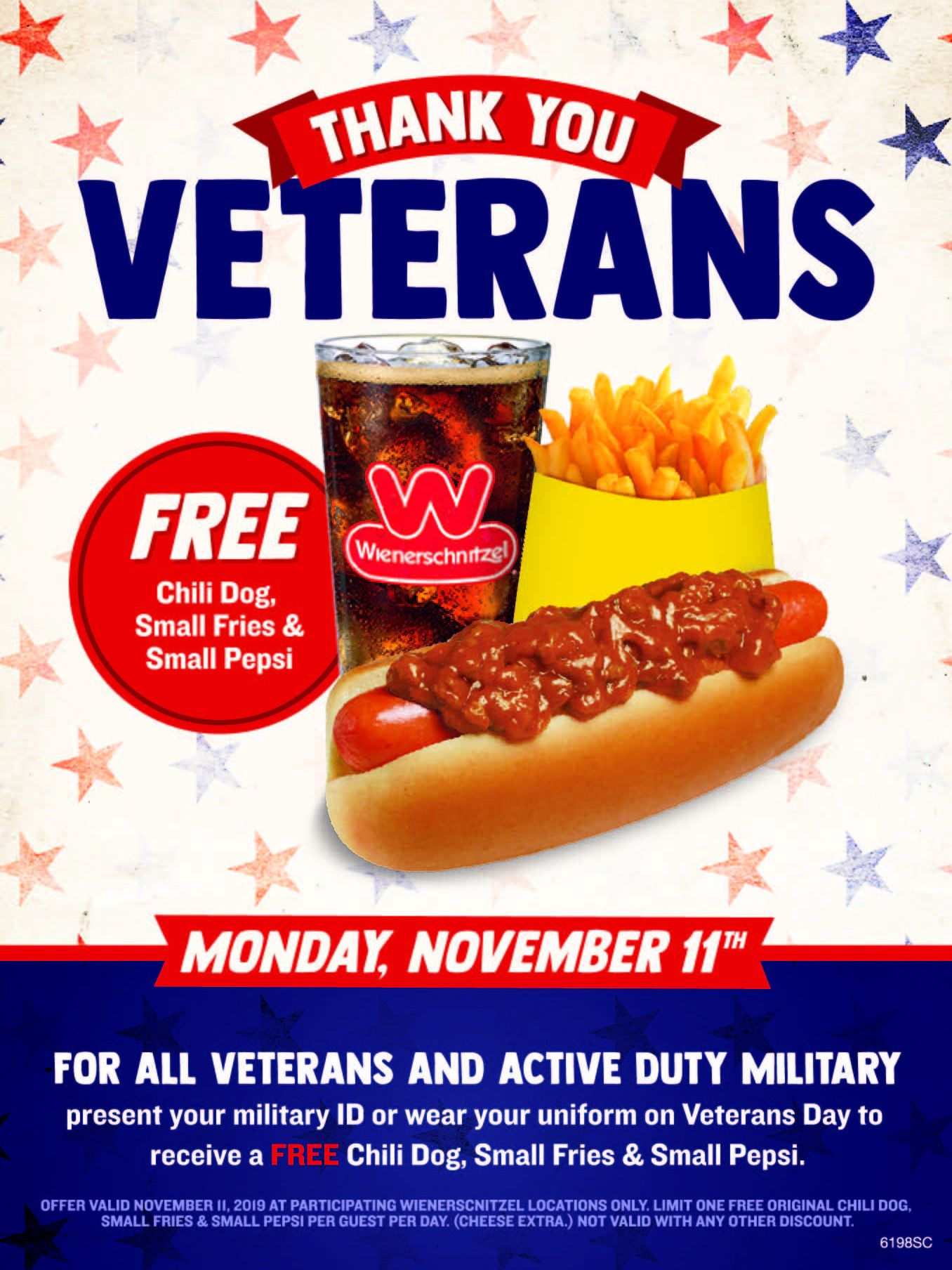 Wienerschnitzel Serves Members of the Military on Veterans Day