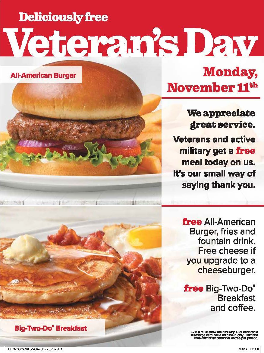"Friendly's Offers ""Deliciously Free"" Meal for Veterans and Active Military for Veterans Day"