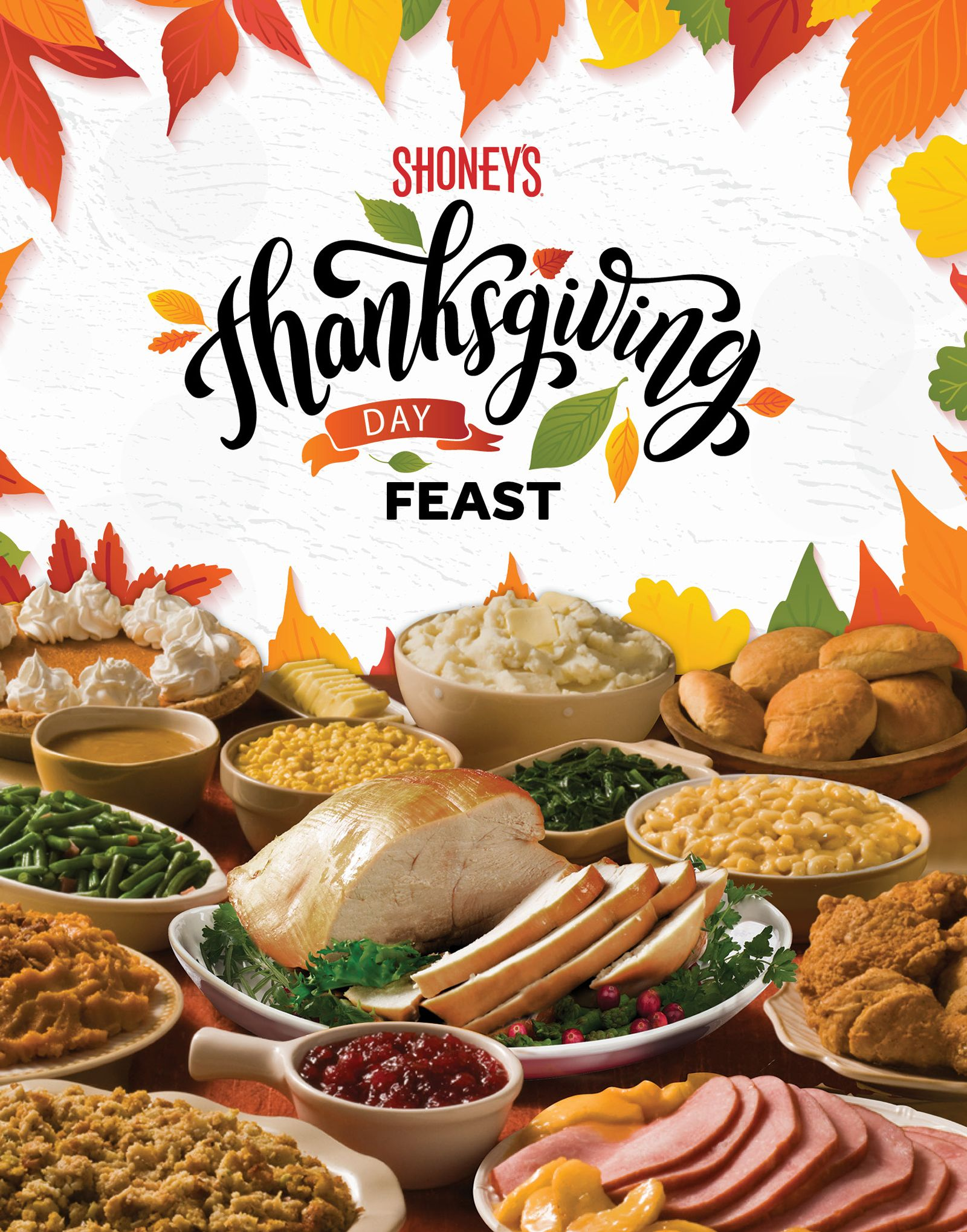 Shoney's Doors Will be Wide Open on Thursday, November 28, for a Spectacular All You Care To Eat, Freshly Prepared Thanksgiving Day Feast and a FREE slice of Pumpkin Pie
