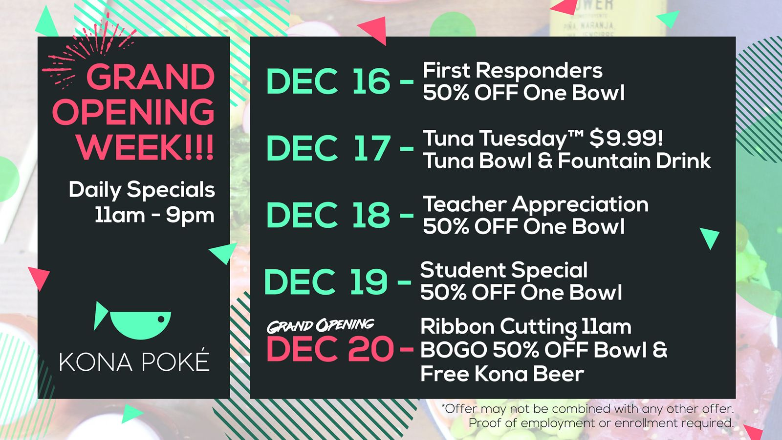 Kona Poké Announces Week-Long Grand Opening Celebration Of Its Second Location In Sanford From Monday, December 16 Through Friday, December 20