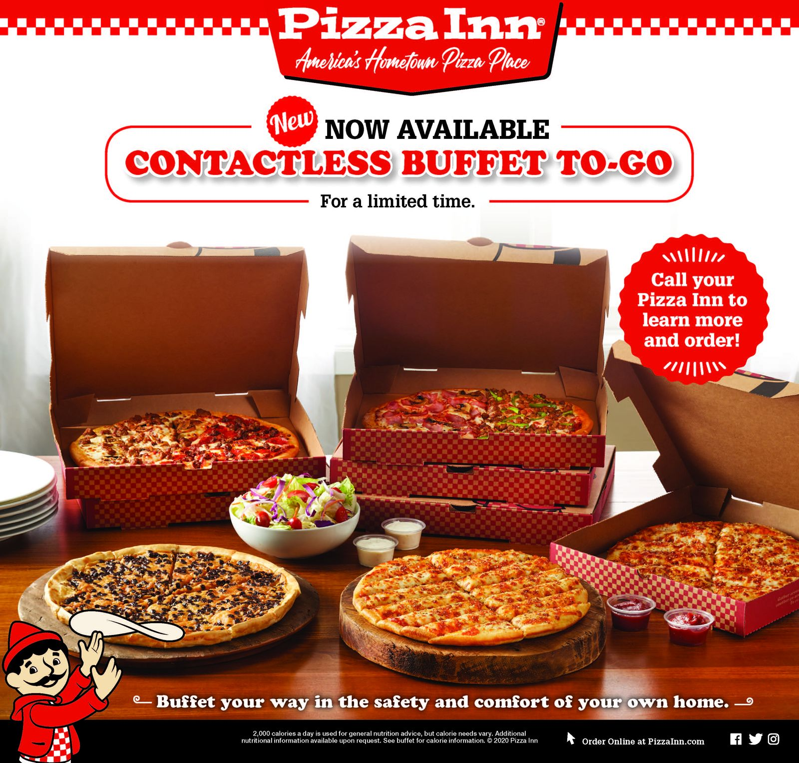 Pizza Inn Launches New Contactless Buffet To Go for Carryout and Delivery