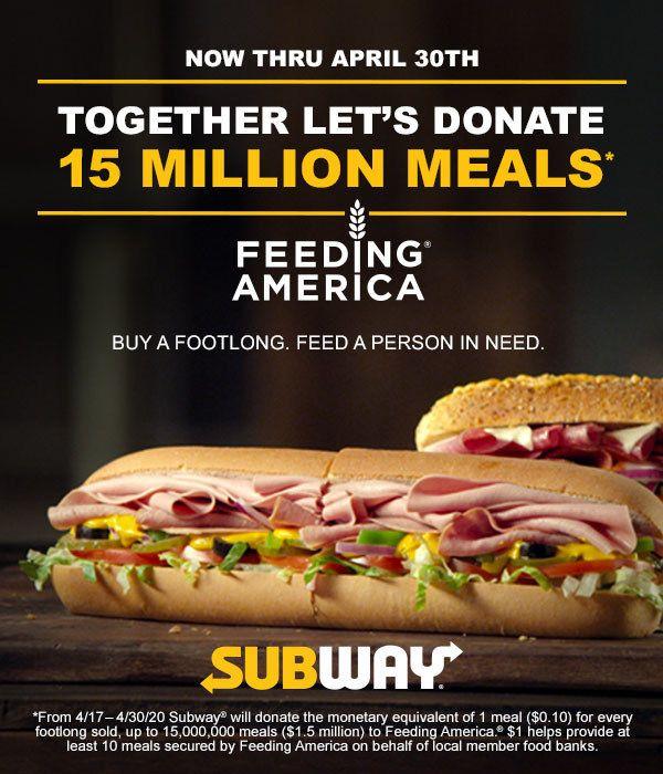 Subway Restaurants and Feeding America Partner To Provide 15 Million Meals