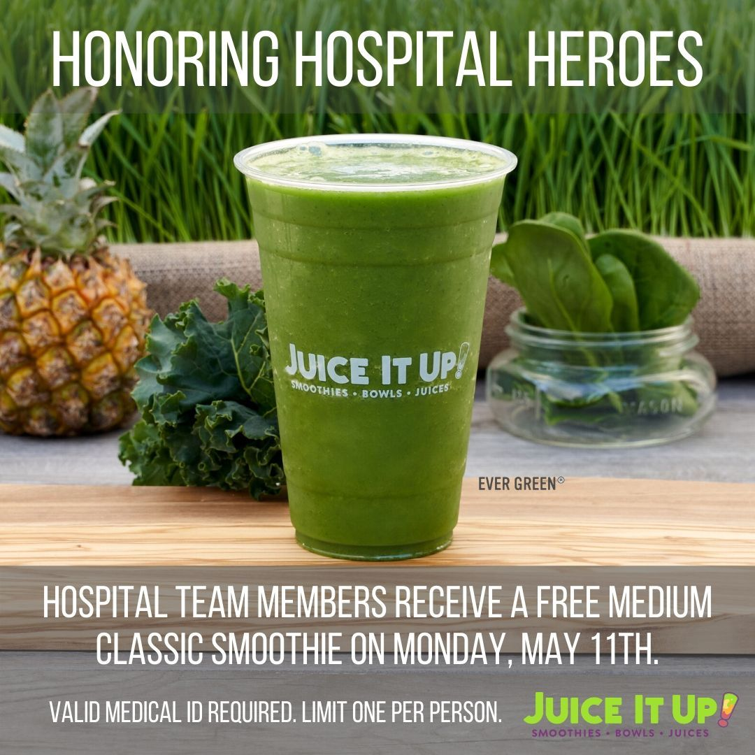 Juice It Up! Is Honoring Healthcare Workers With Free Smoothies on May 11