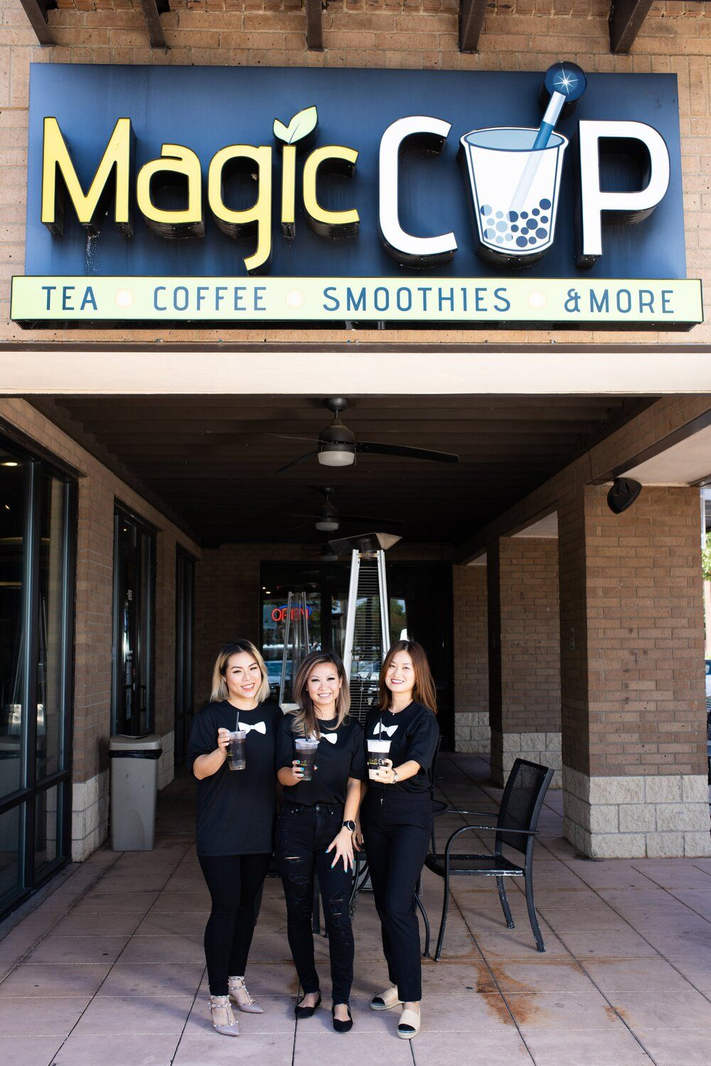 Magic Cup co-founder and COO, My Lynn Nguyen (center), with new franchise partners Tam T Trinh and Chi Tran.
