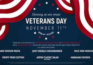Aspen Creek Grill Honors Servicemen and Women on Veterans Day