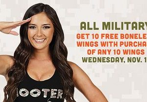 """Hooters Honors Military on Veterans Day with """"Buy 10, Get 10"""" Offer"""