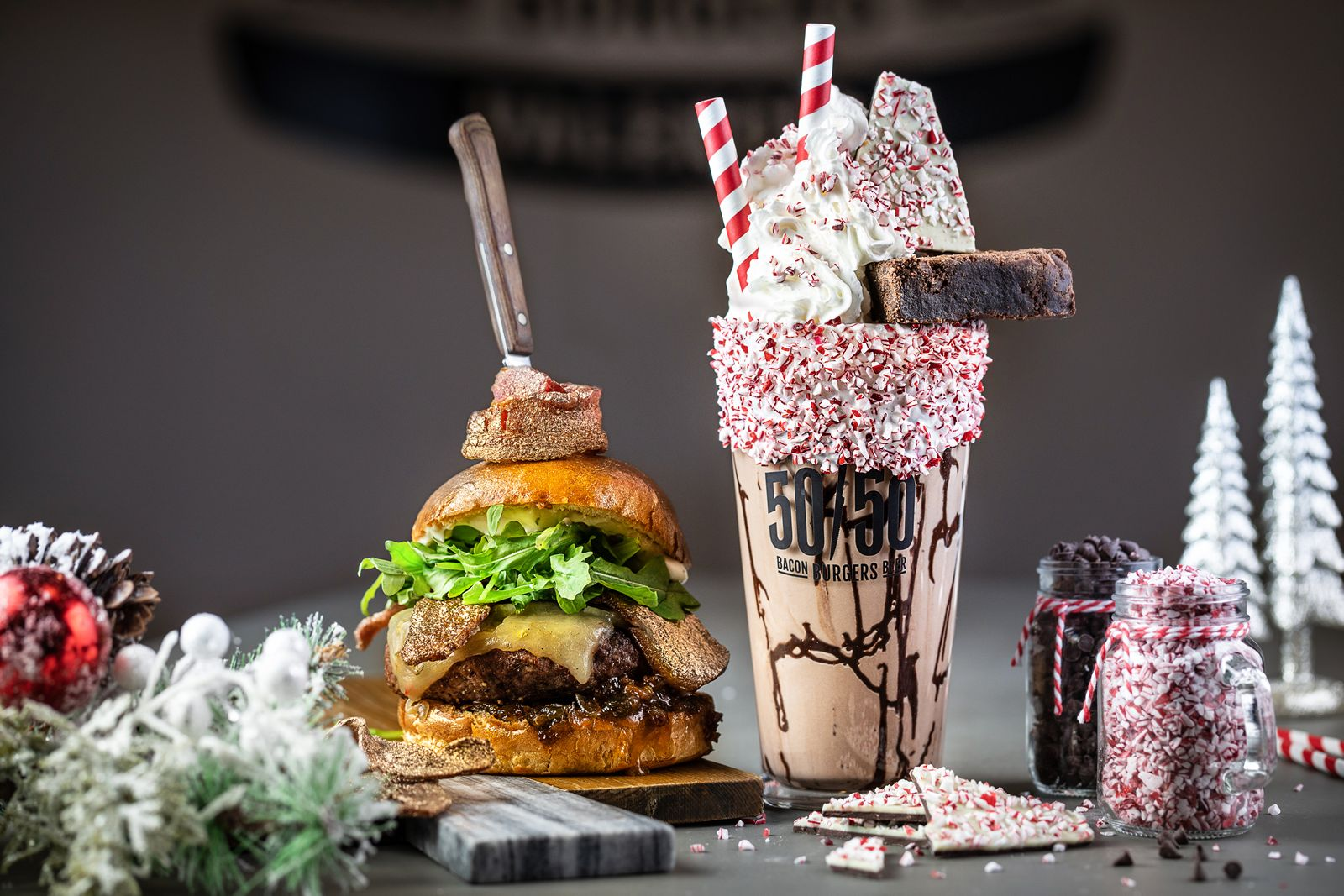 All of December, guests can celebrate the holiday season at Slater's 50/50 with the limited time 24 Karat Burger and Peppermint Milkshake.