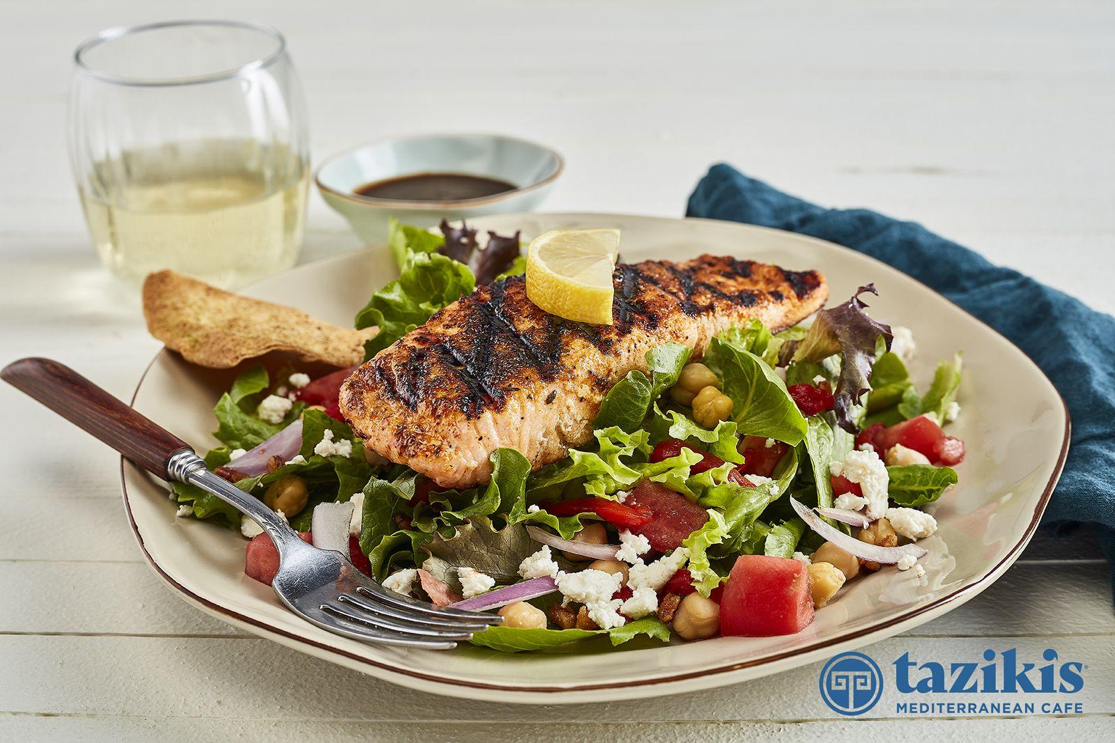 Taziki's Mediterranean Cafe Mediterranean Salad with Grilled Salmon
