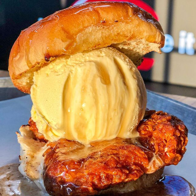In time for National Hot Chicken Day on March 30th, iniBurger has unveiled its Nashville Hot Chicken Sandwich topped with a massive scoop of vanilla ice cream!