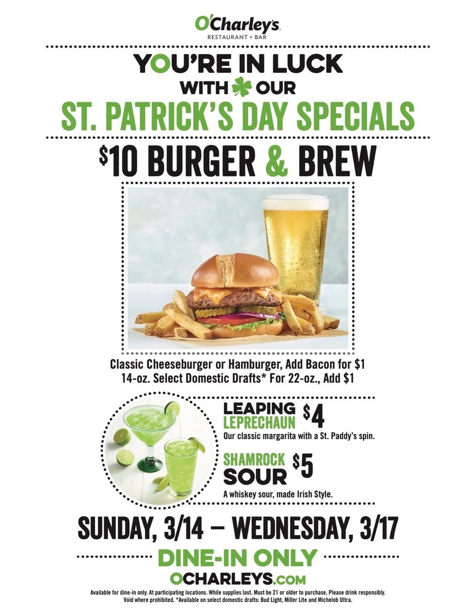 O'Charley's Announces St. Patrick's Day Burger & Brew Special