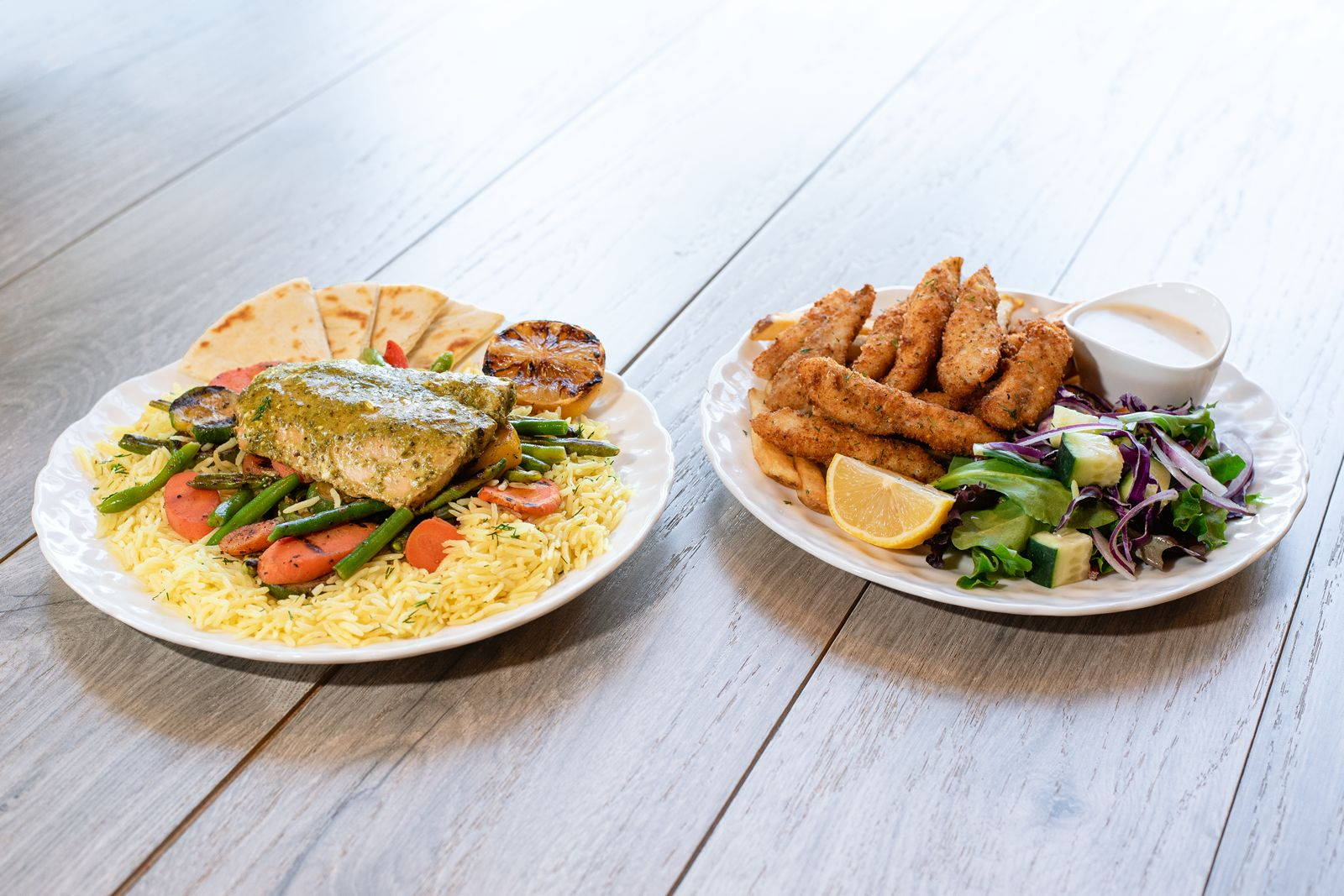 The new Mediterranean-inspired dishes which showcase wild-caught Alaskan salmon and breaded white fish will be available at all Daphne's restaurants through July 5, 2021.