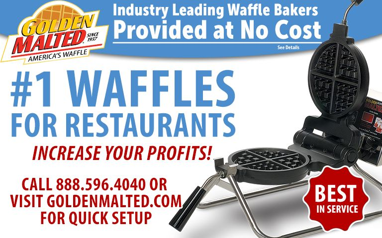 #1 Waffles for Restaurants - Waffle Irons Provided at No Cost with Golden Malted