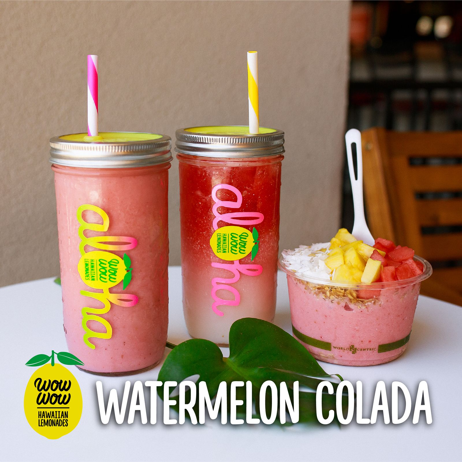 Wow Wow Hawaiian Lemonade Launches Summer Menu Featuring Watermelon Colada Smoothies, Bowls and Lemonades