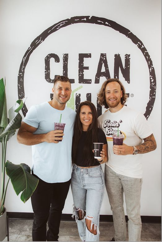 Tim Tebow with Clean Juice Founders Kat and Landon Eckles.