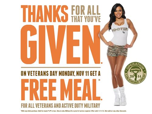 Hooters Offers Free Meal to Military on Veterans Day