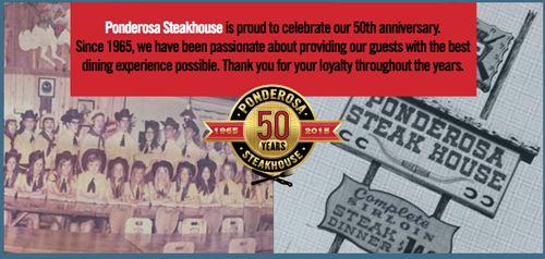 Ponderosa Steakhouse Restaurants Thanks Loyal Guests on 50th Anniversary With Special Promotions, While Also Looking to a Refreshed Future