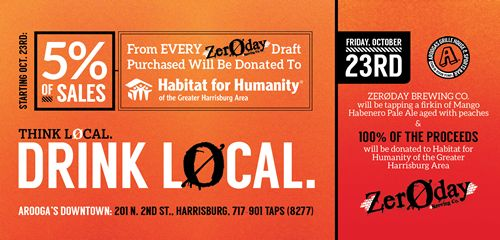 Arooga's Celebrates Addition of Zeroday Draft Beers at Arooga's with Event Benefiting Habitat for Humanity of the Greater Harrisburg Area