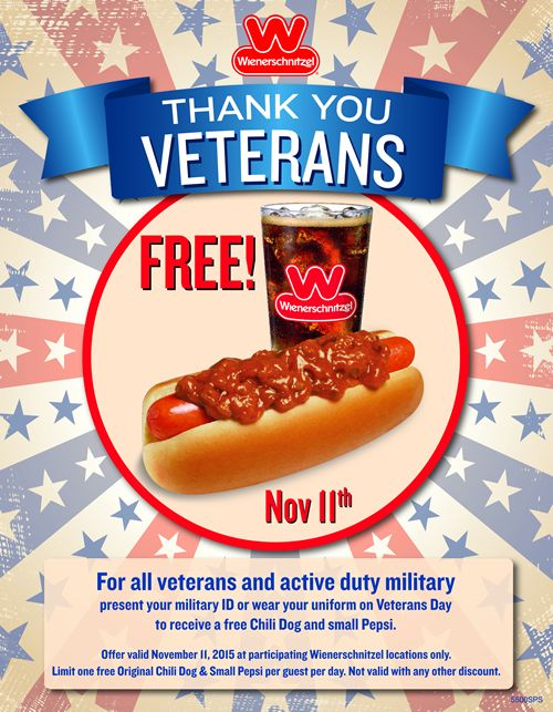 Wienerschnitzel Salutes Veterans with Free Chili Dogs on November 11