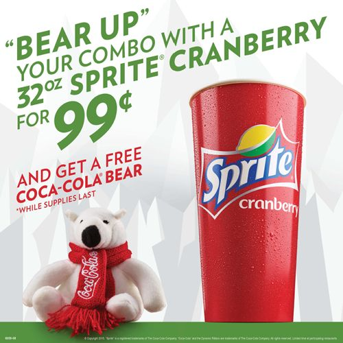 Krystal Now Offering Sprite Cranberry for the Holidays and Collectible Plush Coca-Cola Bear