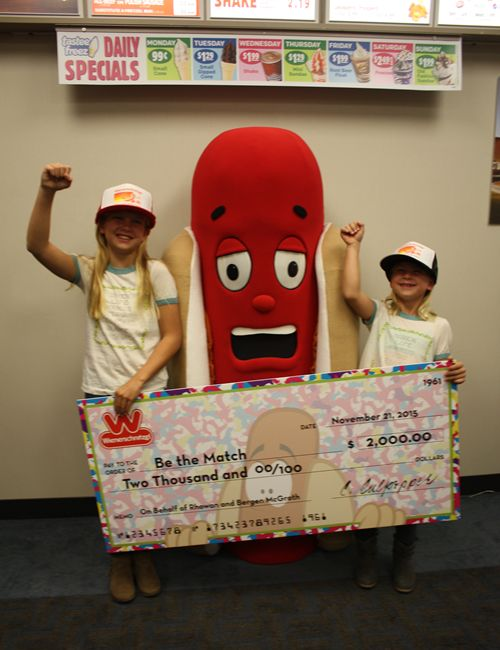 Wienerschnitzel Presents Donation to the McGrath Family to Benefit Be The Match