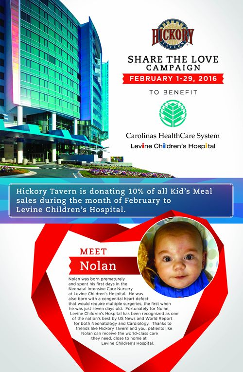 Hickory Tavern Launches 'Share the Love' Fundraising Campaign Benefiting Levine Children's Hospital