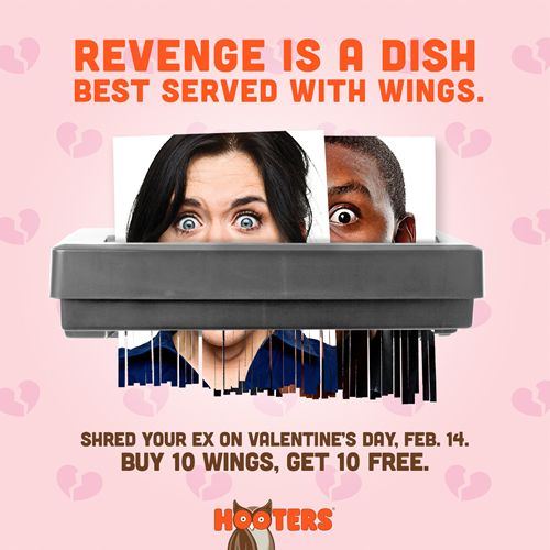 Hooters Serves Revenge with a Side of Chicken Wings this Valentine's Day