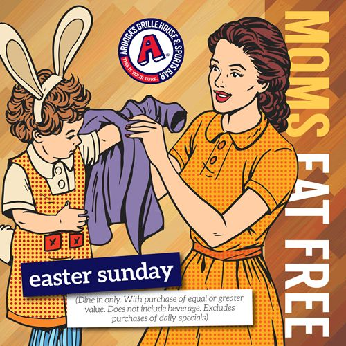 Moms Eat Free This Easter at Arooga's Grille House & Sports Bar