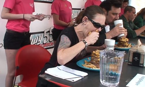 Hwy 55 Hosts World's Fastest Eaters at Hamburger Eating Contest During NC Pickle Festival, Saturday April 23 at Noon in Downtown Mount Olive