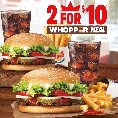 Two WHOPPER Meals Made with 100% Beef for Just Ten Dollars