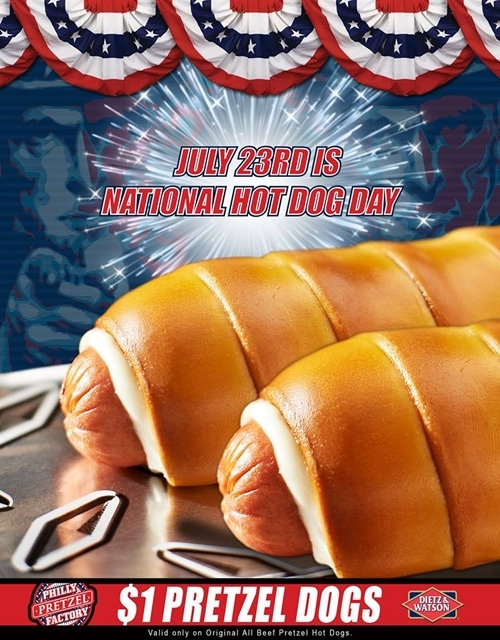 Philly Pretzel Factory Celebrates National Hot Dog Day with $1 Pretzel Dogs