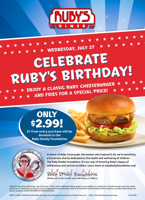 Ruby's Diner Annual Burger Day to Honor Ruby Cavanaugh and Introduce the Ruby Dooby Foundation That Will Continue Her Legacy