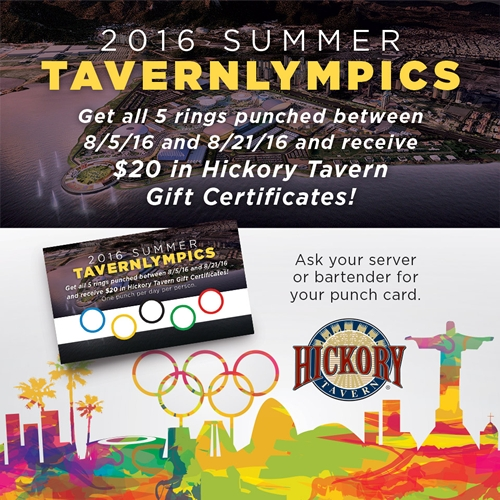 Hickory Tavern Introduces Tavernlympics, an Olympic Rings Punch Card Game Where Guests Can Earn $20 Watching the Olympics at Hickory Tavern