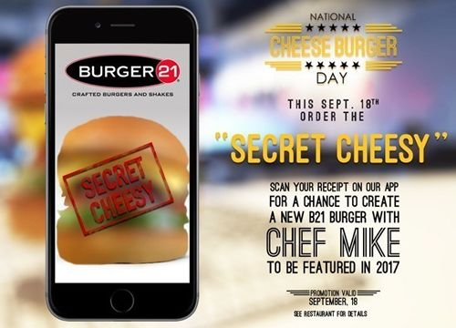 Burger 21 Rolls Out Its Most Cheesy Offer Yet With Free Cheesy Burger and Secret Cheesy Sweepstakes on National Cheeseburger Day