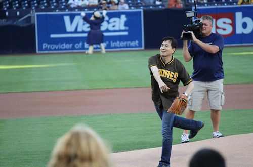 Yogurtland's Phillip Chang Throws Out First Pitch at San Diego Padres Game