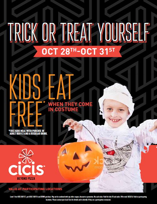 Costumed Kids Eat Free at Cicis for Halloween