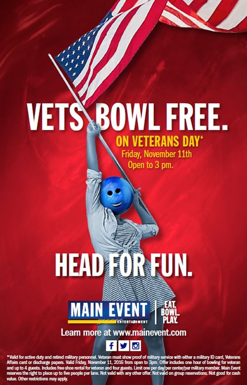 Vets Bowl Free on Veterans Day at Main Event