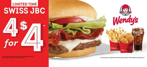 Wendy's Adds Swiss Jr. Bacon Cheeseburger to 4 for $4 Meal