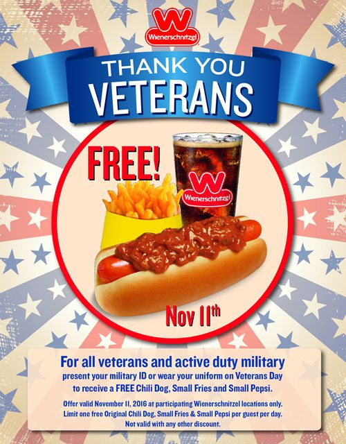 Wienerschnitzel Honors Veterans with Free Chili Dog Meal on November 11