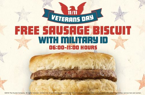 A Free Sausage Biscuit Salute For All Veterans from Krystal