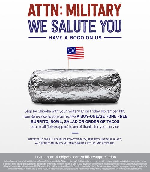 Chipotle Announces BOGO Offer for Active Military and Veterans