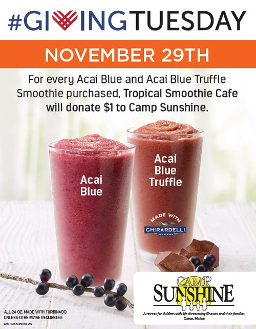 Tropical Smoothie Cafe Invites You to Do Good for Others and Yourself on Giving Tuesday, November 29